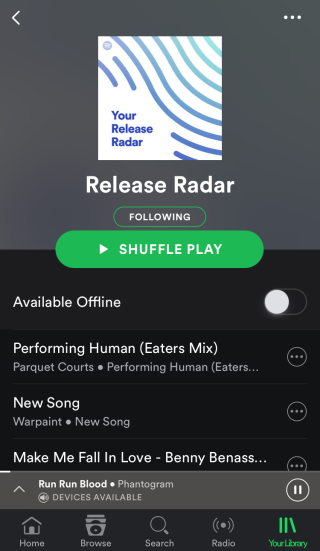 Release Radar Playlist
