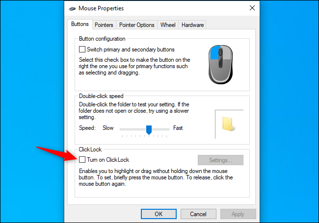Disabling the ClickLock option on Windows
