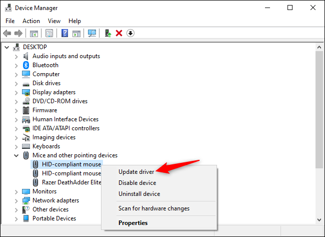 Updating a mouse device's drivers in the Device Manager